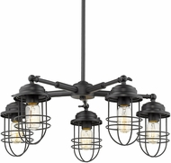 Golden Lighting 9808-5-BLK Seaport Black Hanging Chandelier