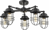 Golden Lighting 9808-5SF-BLK Seaport Black Ceiling Lighting Fixture
