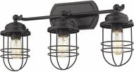 Golden Lighting 9808-BA3-BLK Seaport Black 3-Light Lighting For Bathroom