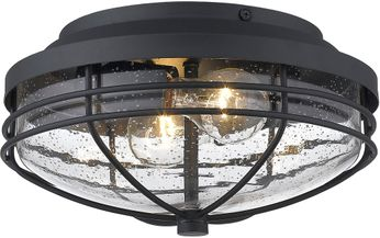 Golden Lighting 9808-OFM-NB-SD Seaport Natural Black Exterior Ceiling Light