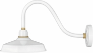 Hinkley 10342GW Foundry Modern Gloss White / Brass Exterior Lighting Wall Sconce