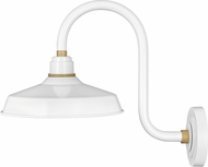 Hinkley 10362GW Foundry Modern Gloss White / Brass Exterior Wall Light Sconce