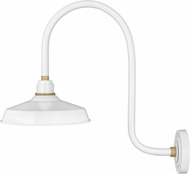 Hinkley 10372GW Foundry Contemporary Gloss White / Brass Outdoor Wall Lamp
