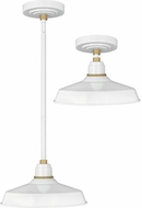 Hinkley 10382GW Foundry Modern Gloss White / Brass Exterior Pendant Lamp / Ceiling Lighting Fixture