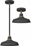 Hinkley 10382TK Foundry Modern Textured Black / Brass Exterior Hanging Light / Flush Lighting