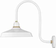 Hinkley 10473GW Foundry Contemporary Gloss White / Brass Outdoor Wall Sconce Light