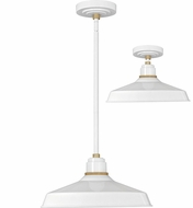 Hinkley 10483GW Foundry Modern Gloss White / Brass Exterior Pendant Light Fixture / Flush Mount Lighting