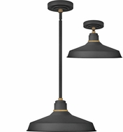 Hinkley 10483TK Foundry Modern Textured Black / Brass Exterior Hanging Pendant Lighting / Flush Mount Light Fixture