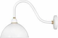 Hinkley 10544GW Foundry Contemporary Gloss White / Brass Outdoor Wall Light Fixture