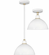 Hinkley 10584GW Foundry Contemporary Gloss White / Brass Outdoor Hanging Pendant Light / Flush Mount Lighting Fixture