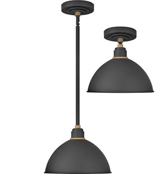 Hinkley 10584TK Foundry Contemporary Textured Black / Brass Outdoor Hanging Light Fixture / Flush Mount Ceiling Light Fixture