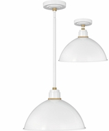 Hinkley 10685GW Foundry Contemporary Gloss White / Brass Outdoor Drop Lighting / Home Ceiling Lighting