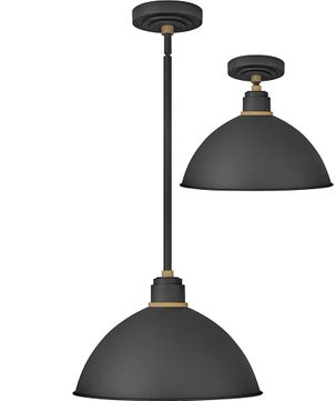 Hinkley 10685TK Foundry Contemporary Textured Black / Brass Outdoor Ceiling Light Pendant / Overhead Lighting Fixture