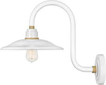 Hinkley 10776GW Foundry Contemporary Gloss White / Brass Outdoor Wall Sconce Light