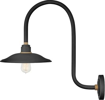 Hinkley 10776TK Foundry Contemporary Textured Black / Brass Outdoor Wall Lamp