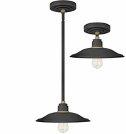Hinkley 10786TK Foundry Modern Textured Black / Brass Exterior Drop Lighting Fixture / Ceiling Light Fixture