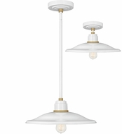 Hinkley 10887GW Foundry Contemporary Gloss White / Brass Outdoor Pendant Lighting / Ceiling Lighting
