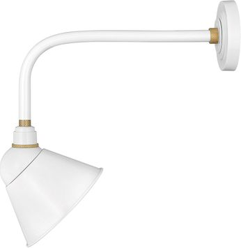 Hinkley 10918GW Foundry Modern Gloss White / Brass Exterior Wall Sconce Light