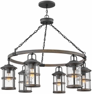 Hinkley 2689DZ-LV Lakehouse Contemporary Black / Driftwood Gray LED Outdoor Ceiling Chandelier