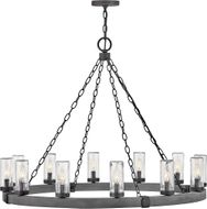 Hinkley 29207DZ Sawyer Country Aged Zinc Outdoor 38  Chandelier Light