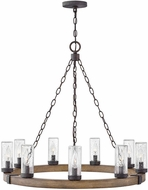 Hinkley 29208SQ-LV Sawyer Contemporary Wood / Iron Rust LED Outdoor Chandelier Lamp
