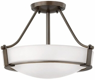 Hinkley 3220OB-WH-LED Hathaway Olde Bronze with Etched White Glass LED 16  Flush Mount Ceiling Light Fixture