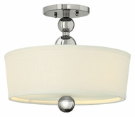Hinkley 3441PN Zelda 14 Inch Diameter Semi Flush Polished Nickel Ceiling Light Fixture