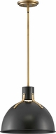 Hinkley 3487SK Argo Modern Satin Black / Lacquered Brass LED 14  Drop Ceiling Light Fixture