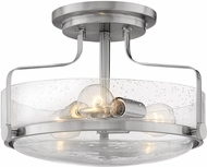 Hinkley 3641BN-CS Harper Contemporary Brushed Nickel w/ Clear Seedy 14.5 Ceiling Light Fixture