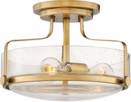 Hinkley 3641HB-CS Harper Contemporary Heritage Brass W/ Clear Seedy 14.5 Ceiling Light Fixture