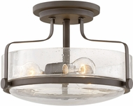 Hinkley 3641OZ-CS Harper Modern Oil Rubbed Bronze with Clear Seedy 14.5  Flush Lighting
