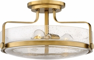 Hinkley 3643HB-CS Harper Contemporary Heritage Brass W/ Clear Seedy 18  Flush Mount Light Fixture