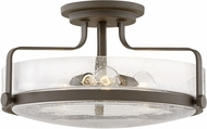 Hinkley 3643OZ-CS Harper Modern Oil Rubbed Bronze with Clear Seedy 18  Flush Mount Lighting Fixture