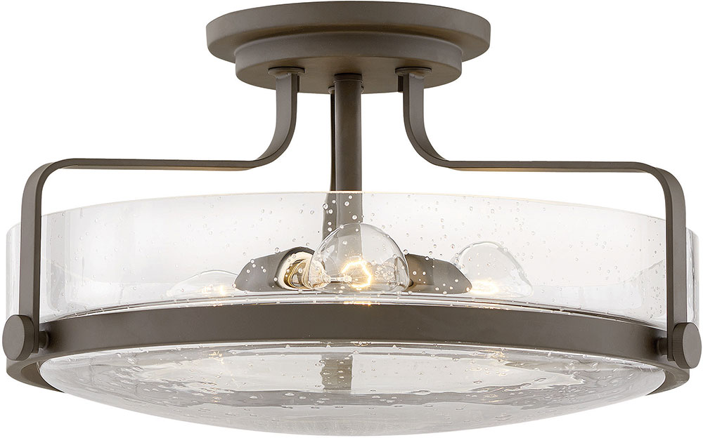 Hinkley 3643oz Cs Harper Modern Oil Rubbed Bronze With Clear Seedy 18 Flush Mount Lighting Fixture