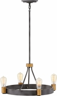 Hinkley 4264DZ Silas Modern Aged Zinc / Heritage Brass Mini Chandelier Light