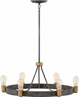 Hinkley 4266DZ Silas Contemporary Aged Zinc / Heritage Brass Chandelier Lighting