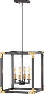 Hinkley 4294SK Louis Contemporary Satin Black / Heritage Brass Foyer Lighting