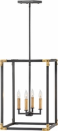 Hinkley 4295SK Louis Modern Satin Black / Heritage Brass Foyer Light Fixture