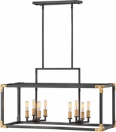 Hinkley 4298SK Louis Contemporary Satin Black / Heritage Brass Kitchen Island Light