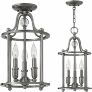 Hinkley 4353PL Elaine Polished Antique Nickel Foyer Light Fixture / Ceiling Light