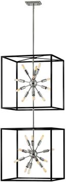 Hinkley 46316BLK-PN Aros Modern Black with Polished Nickel Foyer Light Fixture