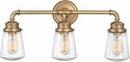 Hinkley 5033HB Fritz Contemporary Heritage Brass 3-Light Lighting For Bathroom