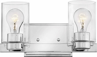 Hinkley 5052CM-CL Miley Modern Chrome with Clear 2-Light Bathroom Lighting Fixture