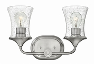 Hinkley 51802BN-CL Thistledown Contemporary Brushed Nickel with Clear 2-Light Bathroom Sconce
