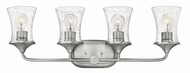 Hinkley 51804BN-CL Thistledown Contemporary Brushed Nickel with Clear 4-Light Bathroom Vanity Light Fixture