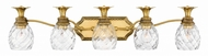 Hinkley 5315BB Plantation Traditional Burnished Brass 5-Light Bathroom Wall Light Fixture