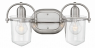 Hinkley 5442BN-CL Clancy Contemporary Brushed Nickel with Clear 2-Light Bath Light Fixture