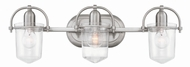 Hinkley 5443BN-CL Clancy Modern Brushed Nickel with Clear 3-Light Bath Lighting Fixture