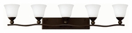 Hinkley 5895OB-OPAL Bolla Olde Bronze Finish 45.75  Wide 5 Light Bath Light Fixture