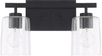 Home Place 128521MB-449 Greyson Modern Matte Black 2-Light Bathroom Vanity Light Fixture